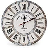 LOHAS Home 12 Inch Silent Vintage Wooden Round Wall Clock Roman Numeral Vintage Rustic Chic Style Home Decor Wooden Round Wal