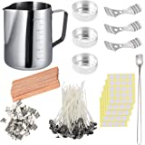 DIY Candle Making Set, 600ml Pouring Pot with Scale+100pcs Candle Wicks+20pcs Wood Candle Wicks with Metal Stands+100pcs Stic