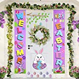 Easter Porch Sign - Easter Decorations Outdoor Indoor - Happy Easter & Hello Spring Banner Sign - Easter Home Wall Door Decor