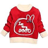 Mornyray Little Girls Cartoon Long Sleeve Plus Velvet Warm Sweater 1-5 Years