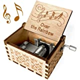 Over The Rainbow Music Box - Wood Laser Engraved Vintage Hand Cranked Cute Boxes Best Unique Gifts for Valentine's Day/Weddin
