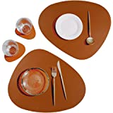 SUBEKYU Leather Placemat for Dining Table, No-Slip Waterproof Mats Set of 2, Heat-Resistant Washable Insulation Table Mat for