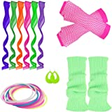YgneeDom 80s Costume Accessories Set for Women Gloves Necklace Bracelets Headband Earrings T-Shirt Clips
