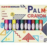 Toddlersクレヨン、ペイントクレヨン12色安全で無害の子供、子供、ボーイズ、ガールズフラワーモナコ BT7.8.palm.12-White