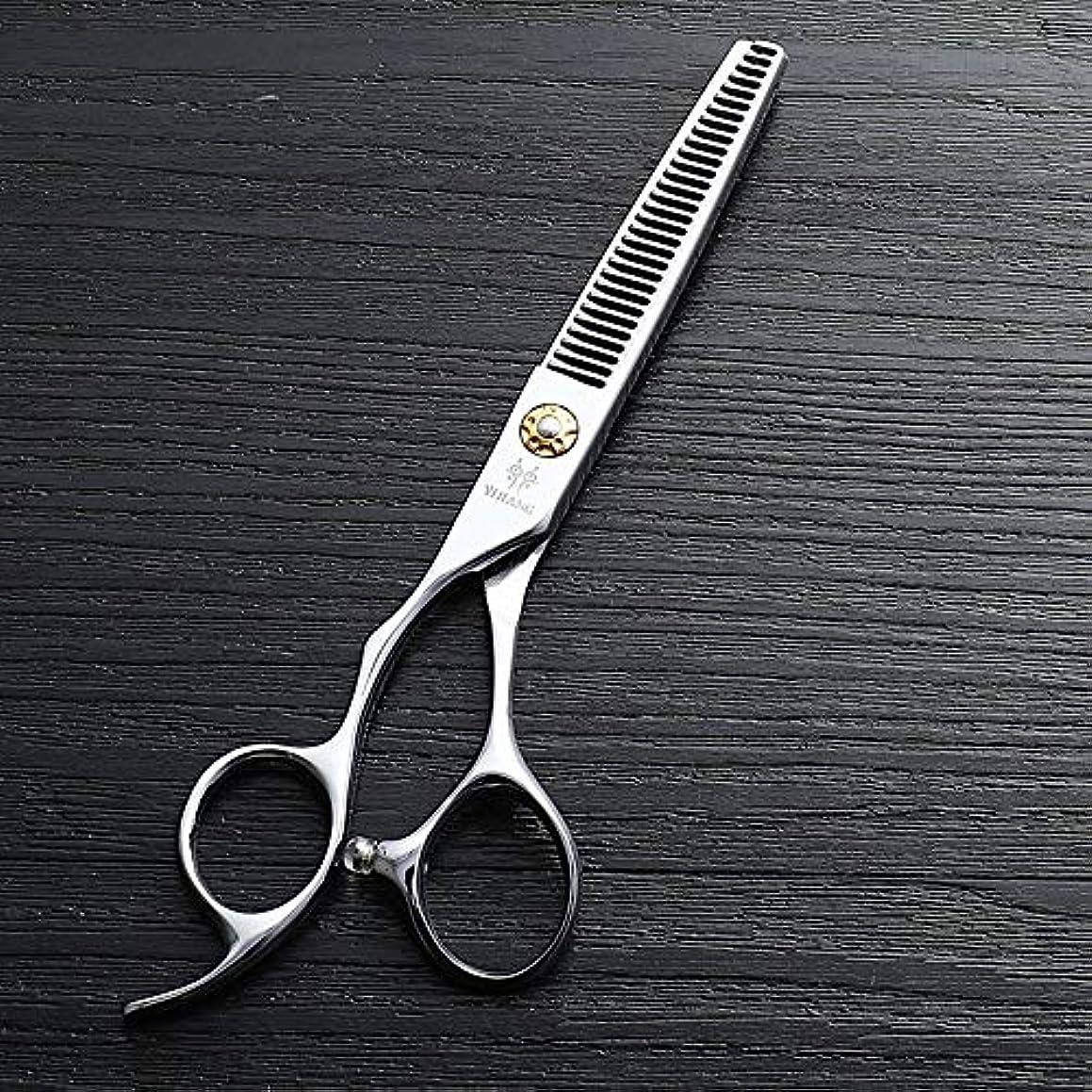 対処億リングバック6インチ美容院プロのヘアカットハイエンド左手歯はさみ、440 cステンレス鋼理髪ツール モデリングツール (色 : Silver)