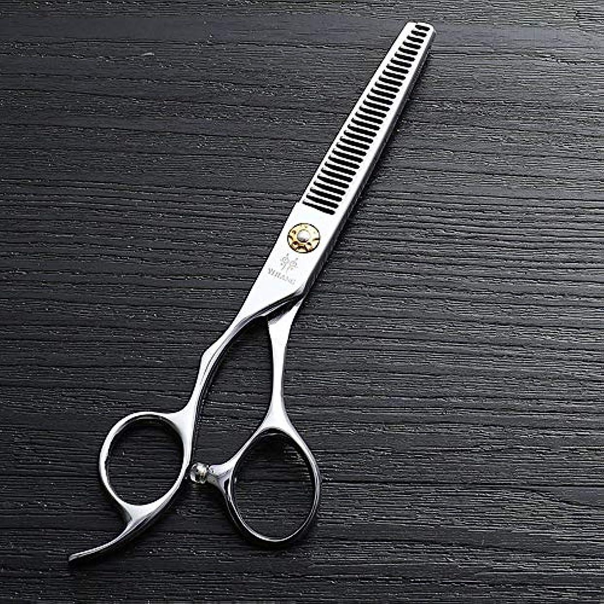 精緻化地理テーマ6インチ美容院プロのヘアカットハイエンド左手歯はさみ、440 cステンレス鋼理髪ツール ヘアケア (色 : Silver)