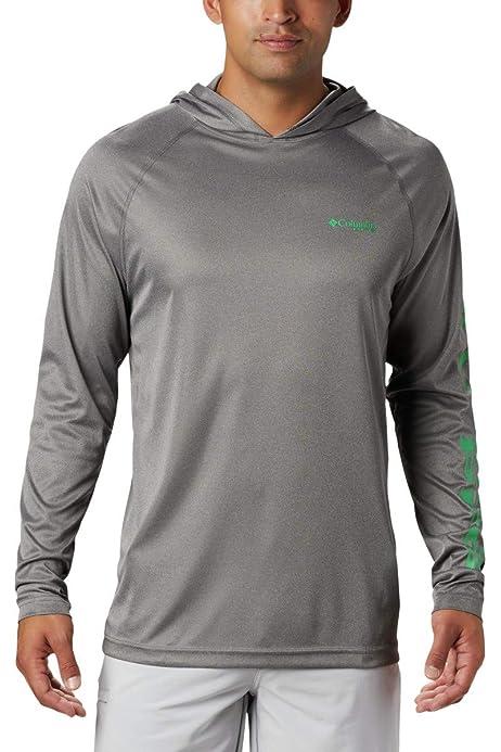 Heencom Mens UPF 50 Sun Block Hoodie Hooded Long-Sleeved Outdoor Fishing Quick-Drying T-Shirt