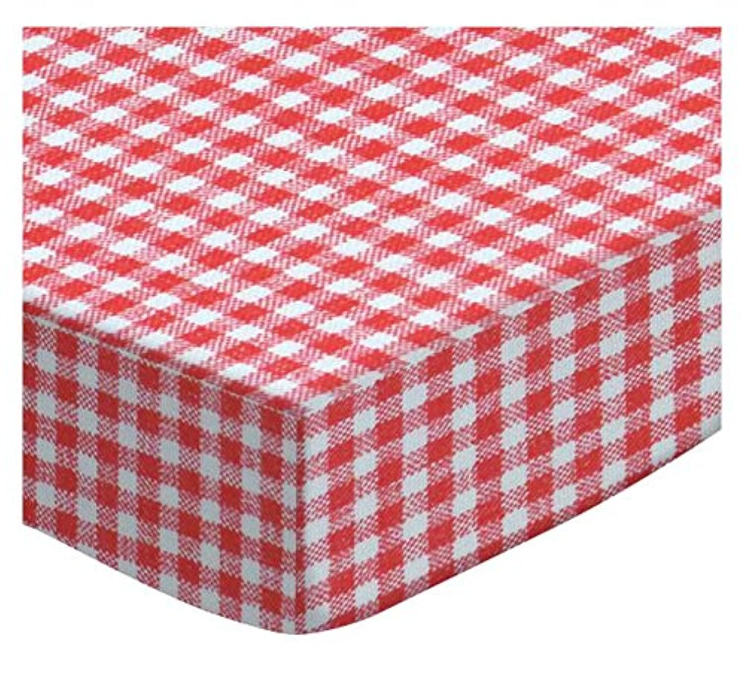 SheetWorld Fitted Square Playard Sheet 37.5 x 37.5 (Fits Joovy) - Primary Red Gingham Woven - Made In USA by sheetworld
