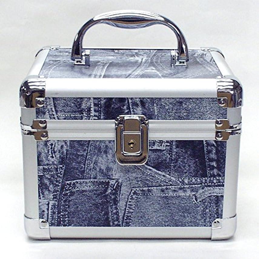 羊友だち行き当たりばったりイケナガ(IKENAGA) メイクボックス ミニ D2952L [ジーンズ柄] 化粧品収納 鏡付き 工具箱 ツールボックス 小物入れ メイクポーチ