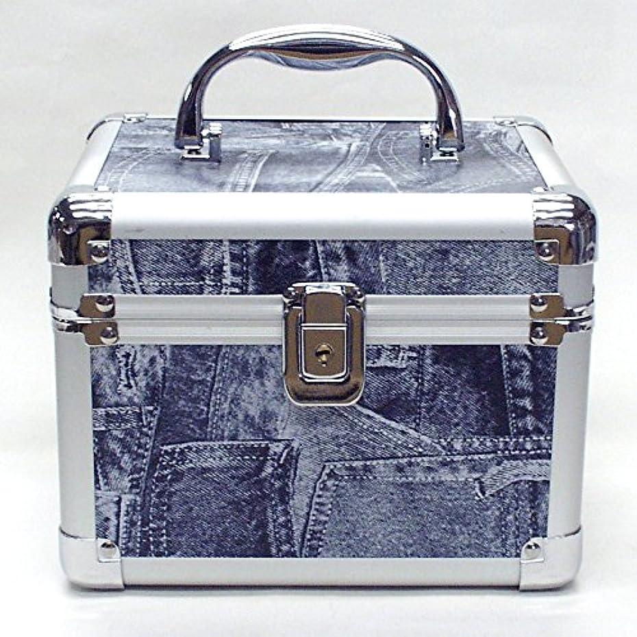 棚おいしいハシーイケナガ(IKENAGA) メイクボックス ミニ D2952L [ジーンズ柄] 化粧品収納 鏡付き 工具箱 ツールボックス 小物入れ メイクポーチ