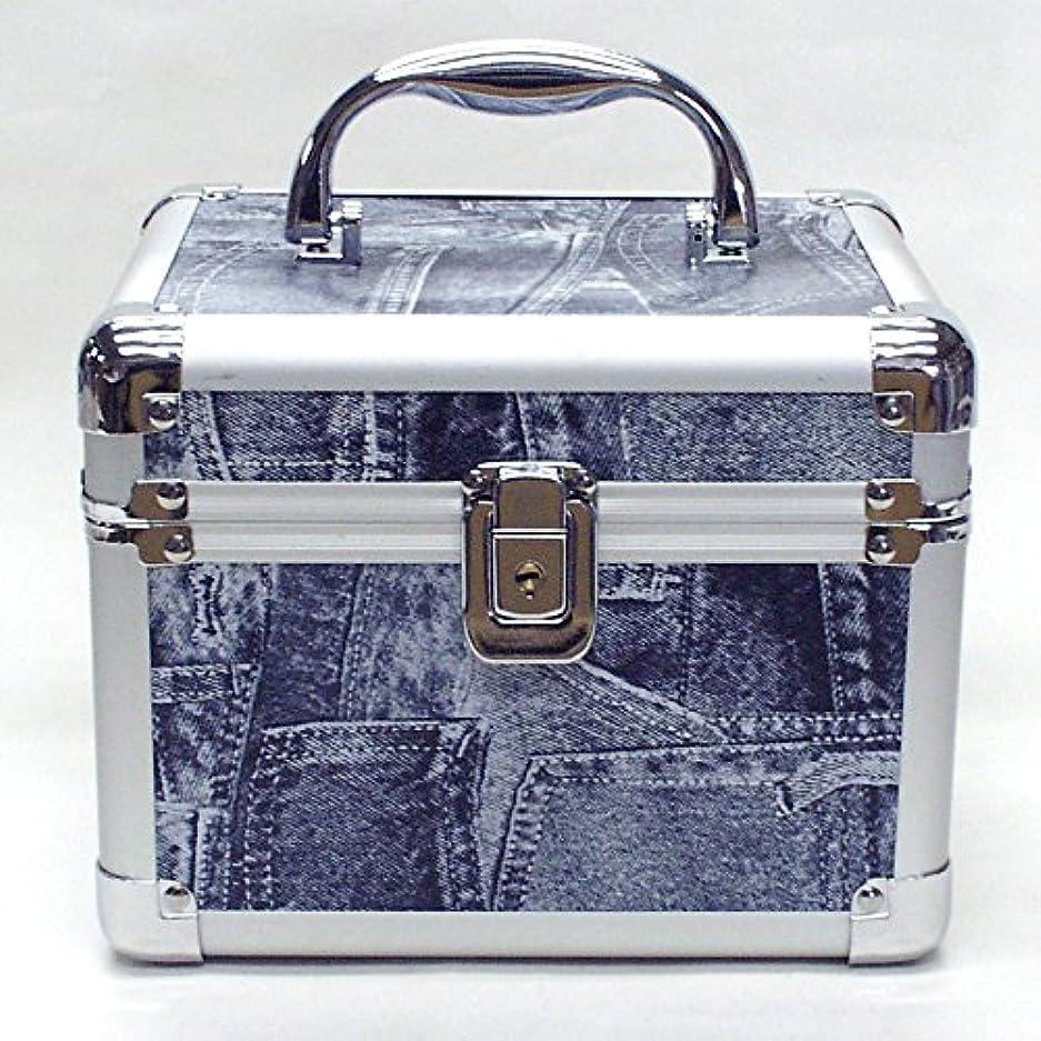失礼な夏私のイケナガ(IKENAGA) メイクボックス ミニ D2952L [ジーンズ柄] 化粧品収納 鏡付き 工具箱 ツールボックス 小物入れ メイクポーチ