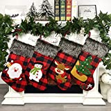 Leipple Christmas Stockings Set of 4 - Large Xmas Stockings 18'' Christmas Tree Decoration with Santa,Snowman,Reindeer - Gift