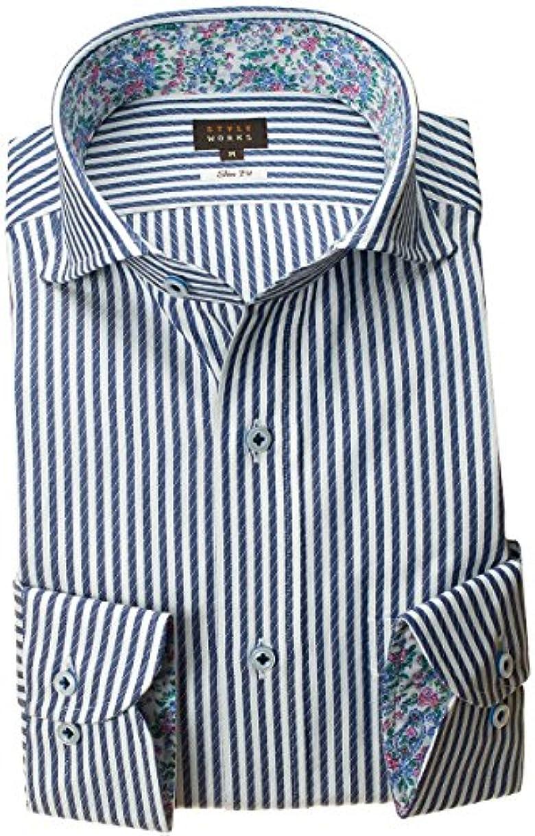 各寓話スロベニアRSD168-006-0103-S (スタイルワークス) メンズ長袖ワイシャツ 青カッタウェイ ワイドカラー ストライプ | 青/S