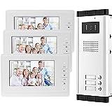 OBO HANDS 7'' Wired Color Video Door Phone Intercom System IR Night Vision Camera Doorbell +Indoor Monitor Screens for 2/3/4