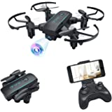 Bitzong Black Mini Pocket Portable Foldable Quadcopter Drone with 720P HD Camera Live Video For Kids and Beginners Indoor & O