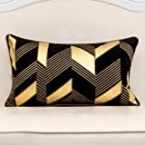 Alerfa 12 x 20 Inches Black Geometric Gold Leather Striped Cushion Cases Embroidery Modern Throw Pillow Covers Decorative Pil