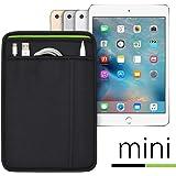 (ポケット付) iPad mini シリーズ用 JustFit スリーブケース (ブラック/グリーン) Apple Pencil Lightningケーブルが収納出来る2つのポケット付 専用設計だからジャストフィット iPad mini2/3/4/5