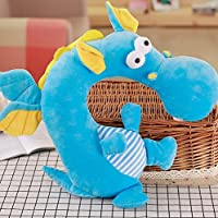 HuaQingPiJu-JP クリエイティブドラゴンデザインソフトクッションピローギフトホームソフトぬいぐるみ玩具ネッククッションピロー(ブルー)