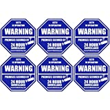 6 Real Blue Octagon-Shaped Video Surveillance System Security Door & Window Stickers 3 X 3 inch 3M Vinyl Decals