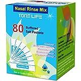 TONELIFE 80 Count Saline Nasal Care Refills - Nasal Salt 2.7g Each Pouch | Refill Kit | 80 Buffered Salt Packets | Allergy an