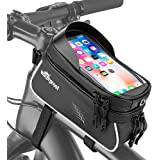 WOTOW Bicycle Phone Mount Bags, Waterproof Bike Front Frame Top Tube Handlebar MTB Cycling Bag with TPU Touch Screen Cell Pho
