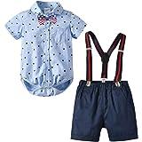 Toddler Boys Clothing Set Gentleman Outfits Suits, Little Boy Short Sleeve Shirt+Bib Pants+Bowtie