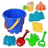 NUOLUX 9Pcs Kids Beach Toys Set Castle Sand Tools Beach Set with Cartoon Molds and Bucket for Pools Backyard and Sandbox (Ran