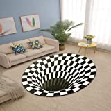 Fashion 3D Trap Illusion Carpet Polyester Fluffy Anti-Skid Rug Round Floor Mat for Living Room Home Decoration Diameter 1.2M