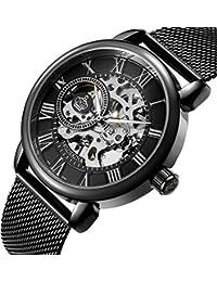 Sweetbless 出品 腕時計 手巻き 3Dフルスケルトン おしゃれメンズ 重厚さと上品さを兼ね揃えたメンズ機械式モデル 時計 ブラック