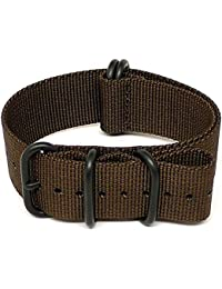 DaLuca Ballistic Nylon NATO Watch Strap - Brown (PVD Buckle) : 26mm