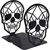 TENGZHEN Metal Bookend Black Book Ends, Heavy-Duty Bookends, Bookends for Shelves, Book Ends for Heavy Books,Black Skull Desi