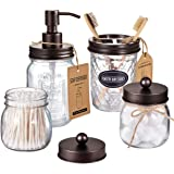 Amolliar Mason Jar Bathroom Accessories Set(4 Pcs) -Lotion Soap Dispenser & 2 Cotton Swab Holder &Toothbrush Holder-Rustic Fa