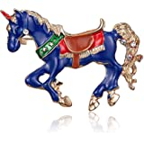 Crystal Horse Brooch Pins Enamel Magic Horse with Wings Brooches Dreamy Animal Brooch for Girls Women