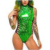 JUMISEE Women Hologram One Piece Bodysuit Metallic Rave Festival Silver Swimsuit