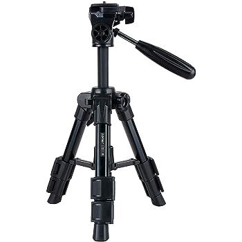 ZoMei 卓上三脚 レバー式 ミニ三脚 3段 三脚 小型 3WAY雲台付 UNC1/4ネジ スマートフォンから一眼レフカメラまでに取り付け(black)