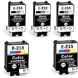 215 Ink Cartridges T215 Remanufactured for WF-100 wf100 Printer, Pigment, 5-Pack: 3 Black, 2 Color