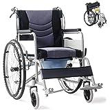 折り畳み式車椅子 介助型 簡易車椅子 自走車椅子 軽量アルミ製 ノーパンクタイヤ 車いす 介護・介助用 旅行用 外出用 自走用車いす 折りたたみ 車いす 車イス コンパクト便器付き