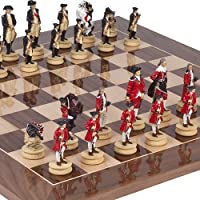 American War of Independence Chessmen & Columbus Ave. Chess Board from Spain. King: 3 1/8 by