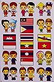 タイ & ASEAN 加盟国 ペア+ 国旗 ステッカー (THAI & ASEAN Flag Sticker 15P mix) L サイズ type A [タイ雑貨 Thailand Sticker]