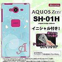 SH01H スマホケース AQUOS ZETA ケース アクオス ゼータ ソフトケース イニシャル バタフライ・蝶(A) 青 nk-sh01h-tp203ini N