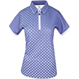 Island Green Women's Golf Ladies Sublimated Zip Neck Breathable Moisture Wicking Flexible Polo Shirt
