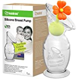Haakaa Manual Breast Pump with Suction Base and Flower Stopper(5oz/150ml)(Orange)