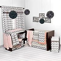 Bacati Ikat Coral/grey 6 Crib Set with 4 Muslin Blankets by Bacati [並行輸入品]