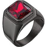 SINLEO Men's Stainless Steel Vintage Ruby Red Gemstone Cross Rings Silver Black Gothic Biker Wedding Band