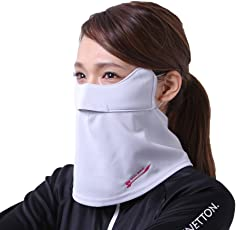 息苦しくない UVカットフェイスカバー(マスク) 日焼け防止  紫外線対策 (グレー)
