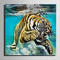 送料無料ハンドペインティング の油絵注 タイガー 装飾絵画一台ホーム の装飾現代の壁プリント芸術の装飾画手描き油絵 (60x60cm*1pc)