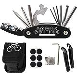 Bike Tool Kit, Puncture Repair Kit, Bike Multi Tool, Mountain Bike Accessories, 16 in 1 Bike Multifunction Tool with Patch Ki