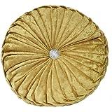 NOVWANG Round Floor Pillow Velvet Chair Cushion Couch Pumpkin Throw Pillow Home Decorative, 13.39 x 13.39, Golden Yellow