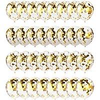 ゴールド紙吹雪バルーン32パック  12インチクリアラテックスballoons  with Golden紙吹雪 誕生日、結婚式、提案、ベビーシャワーパーティー装飾