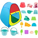 Kids Beach Sand Toys Set with Pop-up Tent, ColorfulSand Castle Molds,Waterwheel,Beach Buggy,Bucket, Shovels,Other Tools Kit